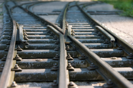 Railway switches and sun spots, close-up