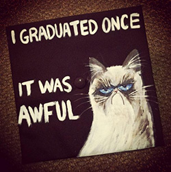 grumpycat decorated graduation caps